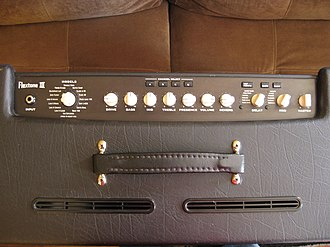 Distortion (music) - A Line 6 modeling amplifier shown from above. Note the various amplifier and speaker emulations selectable via the rotary knob on the left.