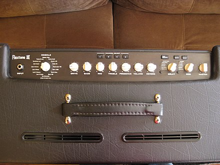A Line 6 modeling amplifier shown from above. Note the various amplifier and speaker emulations selectable via the rotary knob on the left. Line 6 Flextone III Plus control panel.jpg