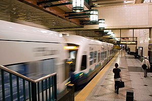 University Link tunnel - Image: Link Light Rail at Westlake Station (10873527453)
