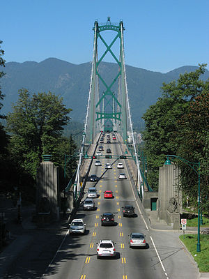 Reversible lane - The south end of Lions Gate Bridge in Vancouver, Canada