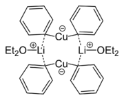 Skeletal formula of lithium diphenylcuprate etherate dimer