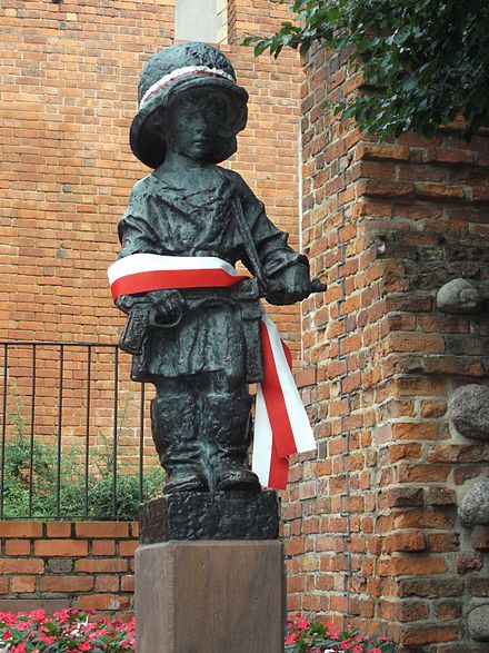 Warsaw's Little Insurgent monument commemorates all child soldiers who fought in World War II and earlier conflicts. Little Insurgent Monument in Warsaw 01.JPG