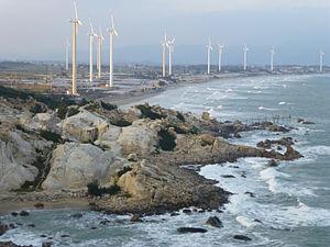 "Liu'ao, Fujian - Wind power turbine towers in Liu'ao, near the ""Abstract Art Gallery"""