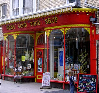 Llandrindod Wells - Vans Good Food Shop, an example of the style of shops of Llandrindod's Victorian heyday