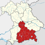 Locator map RB Oberbayern in Bavaria.svg