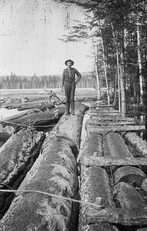 Brown Company - Log driver working for the Brown Company in New Hampshire