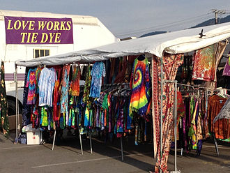 Tie dye vendor, July 2013 Love Works Tie Dye stand - Missoula Montana 2013.jpg