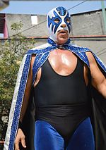 Masked wrestler Atlantis in the ring during an outdoor wrestling event.