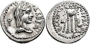 Sestia (gens) - Coin of Lucius Sestius, consul suffectus in 23 BC