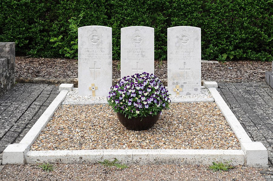 Cemetery at Rambrouch, Luxembourg: Tombs of the three Royal Air Force bomber crew members who died in the Halifax bomber crash on Sept. 10 1942 near Rambrouch.