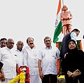 M. Venkaiah Naidu, the Union Minister for Defence, Shri Manohar Parrikar and the Minister of State for Road Transport & Highways and Shipping, Shri P. Radhakrishnan after unveiling the statue of Dr. A.P.J. Abdul Kalam.jpg