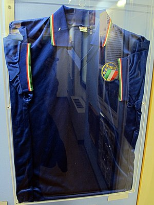 Paolo Maldini - Maldini's Italy jersey from the 1990 FIFA World Cup, located in the Football Museum in Florence
