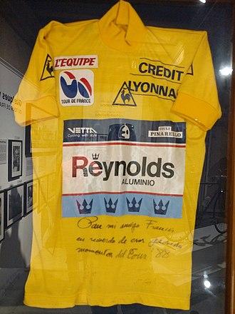Pedro Delgado - Delgado's yellow jersey, 1988 Tour de France.