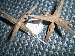 "Makibishi -  Japanese ""makibishi"" iron spikes, a type of caltrop"