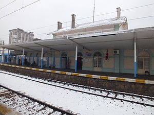 Maltepe railway station - The station building in the snow.