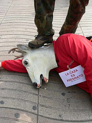 Opposition to hunting - Protest against hunting from the animal rights organisation Libera! in Barcelona