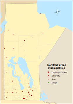 Map showing locations of Manitoba's urban municipalities