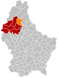 Map of Luxembourg with Kiischpelt highlighted in orange, and the canton in dark red