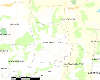 Pouylebon - Pouylebon and its surrounding communes