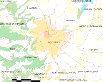 Map of the commune of Montbrison