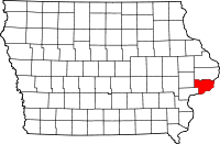 Map of Iowa highlighting Scott County