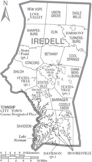 Map of Iredell County, North Carolina With Municipal and Township Labels