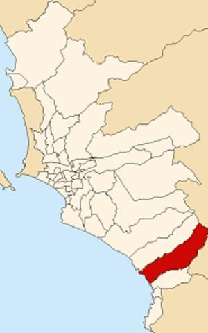 Punta Negra District - Image: Map of Lima highlighting Punta Negra