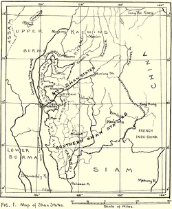 1917 map of the British Shan States