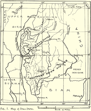 Shan States - 1917 map of the British Shan States
