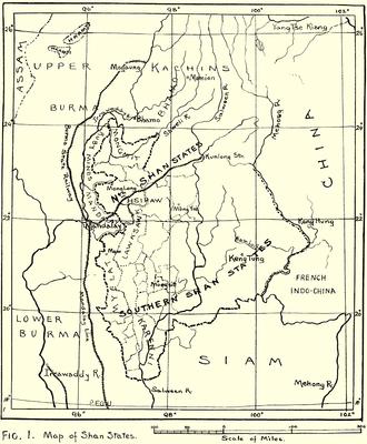 Shan States - 1917 map of the British Shan States
