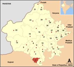 Vị trí của Huyện Dungarpur