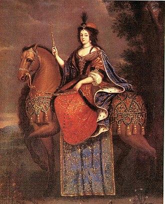 Marie Casimire Louise de La Grange d'Arquien - Queen Marie Casimire on horseback.