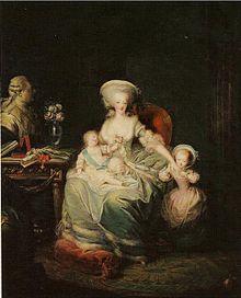 Maria Antonietta con i suoi figli. Dipinto di Charles Le Clercq (1781).