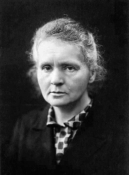 Marie Curie was the first person to be awarded two Nobel Prizes: Physics in 1903 and Chemistry in 1911. Marie Curie c1920.jpg