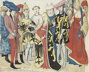 Maria of Brabant, Holy Roman Empress - Marriage of Maria and Otto IV, from the Brabantsche Yeesten manuscript by Jan van Boendale, 14th century