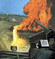 """An M67 """"Zippo"""" tank of the U.S.M.C. during the Vietnam war."""
