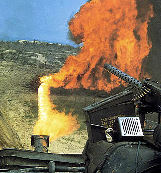 Flame tank - A Marine M67 Flame Thrower Tank in Vietnam, 1968. An M1919 Browning machine gun is mounted to the right.