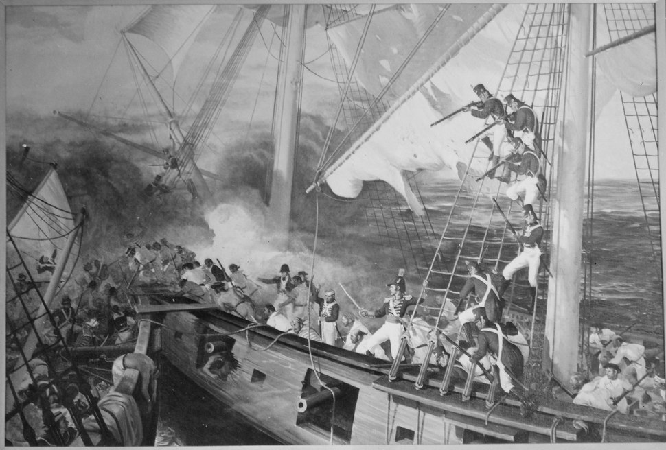 Marines Aboard USS Wasp Engage HMS Reindeer. June 1814. Copy of painting by Sergeant John Clymer., 1927 - 1981 - NARA - 532579