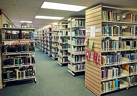 The book shelves ground floor of the Markfield Institute Library