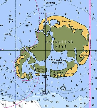 "Marquesas Keys - NOAA Nautical chart of the Marquesas Keys: part of Chart No. 11439 ""Sand Key to Rebecca Shoal"""