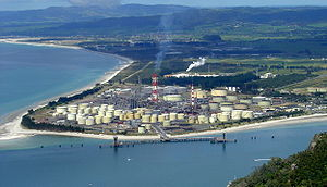 Whangarei Harbour - The Marsden Point Oil Refinery at the entrance of Whangarei Harbour