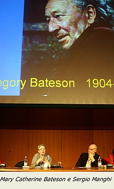 Mary Catherine Bateson & Sergio Manghi at a conference, 2004.jpg