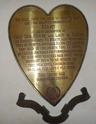 De Bathe baronets - Mary de Bathe Archdale, plaque in St Andrew's Church, West Stoke, West Sussex