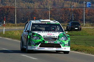 Matthew Wilson - Wilson driving on a road section during the 2007 Rally Japan.