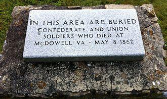 Battle of McDowell - Plaque in cemetery in McDowell