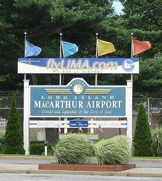 Long Island MacArthur Airport - Entrance sign to the airport