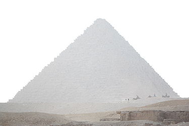 Menkaure's Pyramid from the Great Sphinx 2010.jpg