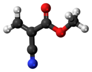 Ball-and-stick model of the methyl cyanoacrylate molecule