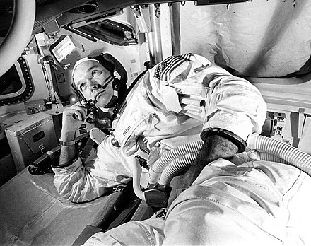 Collins in Command Module simulator during simulated rendezvous and docking maneuver on June 19, 1969 - Michael Collins (astronaut)