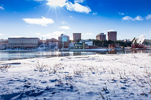 Michigan Tech's campus in winter